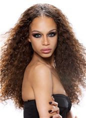 Gracefull Long Curly Brown No Bang African American Lace Wigs for