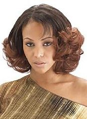 Fancy Short Wavy Brown Side Bang African American Lace Wigs for Women