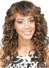 Wonderful Medium Wavy Brown Side Bang African American Wigs for Women