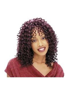 Inexpensive Medium Curly Brown Side Bang African American Lace Wigs