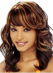 Afro American Medium Wavy Brown Full Bang African American Wigs for