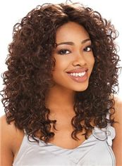 Online Wigs Medium Curly Brown No Bang African American Lace Wigs for