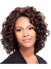 New Glamourous Short Wavy Brown No Bang African American Lace Wigs