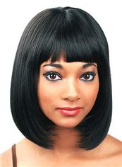Perfect Short Straight Black Full Bang African American Wigs for Women 12 Inch
