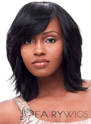 The Fresh Medium Wavy Black Side Bang African American Wigs for Women 14 Inch