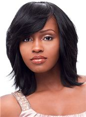 The Fresh Medium Wavy Black Side Bang African American Wigs for Women