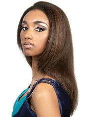 Super Smooth Medium Straight Brown No Bang African American Lace Wigs