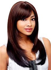 2015 Cool Medium Straight Brown Side Bang African American Wigs for