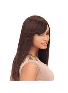 Top-rated Long Wavy Brown Side Bang African American Wigs for Women