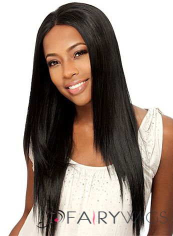 Sexy Long Straight Black No Bang African American Lace