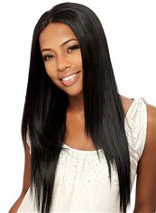 Sexy Long Straight Black No Bang African American Lace Wigs for Women 24 Inch