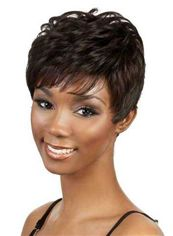 Cute Short Wavy Brown Side Bang African American Wigs for Women 8 Inch