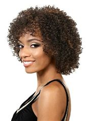 Fashion Short Curly Brown Side Bang African American Lace Wigs for