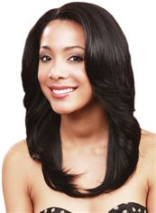 Unique Medium Wavy Black No Bang African American Lace Wigs for Women 18 Inch