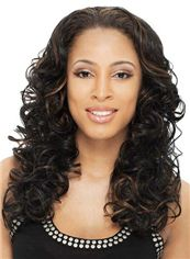 Soft Medium Wavy Black No Bang African American Lace Wigs for Women 18 Inch