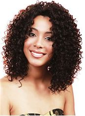 Popurlar Medium Curly Brown No Bang African American Lace Wigs for