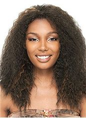 Trendy Medium Curly Brown No Bang African American Lace Wigs for