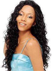 Graceful Long Wavy Black No Bang African American Lace Wigs for Women 22 Inch