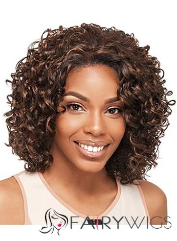 Cheap Short Curly Brown No Bang African American Lace Wigs
