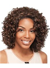 Cheap Short Curly Brown No Bang African American Lace Wigs for Women 12 Inch