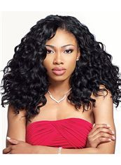Grand Medium Curly Black No Bang African American Lace Wigs for Women 18 Inch