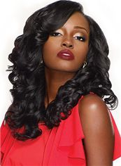 Faddish Medium Wavy Black Side Bang African American Lace Wigs for