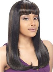 Shining Medium Wavy Sepia Full Bang African American Wigs for Women