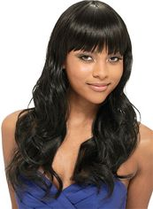 Lustrous Long Wavy Black Full Bang African American Wigs for Women 20