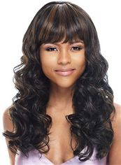 Outstanding Long Wavy Sepia Full Bang African American Wigs for Women