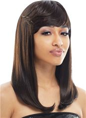 Wonderful Medium Wavy Sepia Full Bang African American Wigs for Women