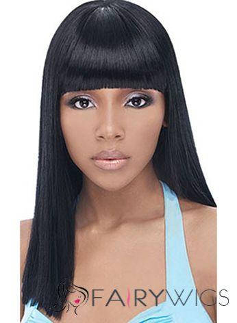 Amazing Medium Straight Black Full Bang African American Wigs for Women 18 Inch