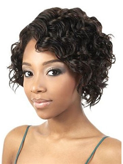 Delicate Short Wavy Sepia Side Bang African American Lace Wigs for Women 10 Inch
