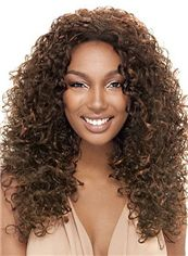 European Style Medium Curly Brown No Bang African American Lace Wigs for Women 18 Inch
