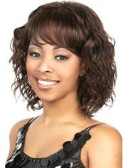 Cheap Asian Short Wavy Brown Full Bang African American Wigs for