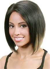 Afro American Short Straight Black No Bang African American Lace Wigs