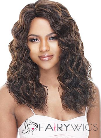 Wigs For Sale Medium Wavy Brown No Bang African American Lace Wigs for Women 18 Inch