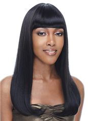 Wig Online Medium Wavy Black Full Bang African American Wigs for Women 18 Inch