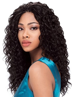 Quality Wigs Long Curly Black No Bang African American Lace Wigs for Women 20 Inch