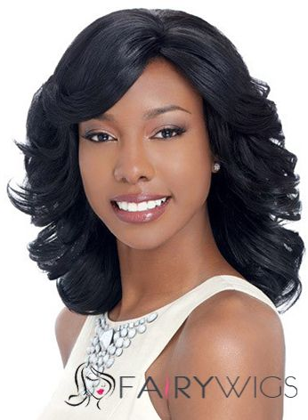 Noble Medium Wavy Black Side Bang African American Lace Wigs for Women 14 Inch