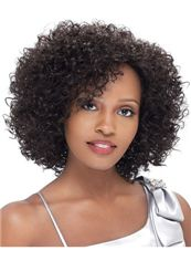 New Impressive Short Curly Brown Side Bang African American Lace Wigs for Women 12 Inch