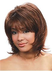 Super Smooth Medium Wavy Brown Full Bang African American Wigs for
