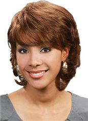 Dynamic Feeling from Short Wavy Brown Full Bang African American Wigs
