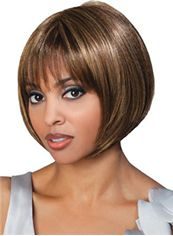 Marvelous Short Straight Brown Full Bang African American Wigs for