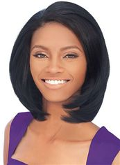 Sweety Short Wavy Brown No Bang African American Lace Wigs for Women