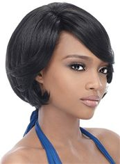 Online Short Wavy Black Side Bang African American Wigs for Women 10