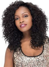 Shinning Medium Curly Black No Bang African American Lace Wigs for