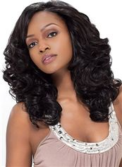 Fabulous Medium Wavy Black No Bang African American Lace Wigs for