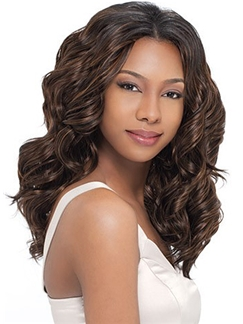 Simple Medium Wavy Brown No Bang African American Lace Wigs for Women 18 Inch