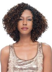 Sketchy Short Curly Brown No Bang African American Lace Wigs for