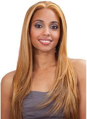 Hot Long Straight Blonde No Bang African American Lace Wigs for Women 22 Inch